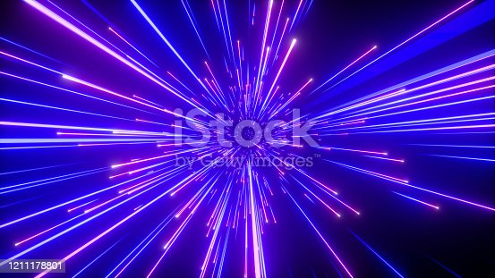 3d render, abstract neon background, shooting stars, blue fireworks sparkling, outer space, fantastic universe, big bang, explosion