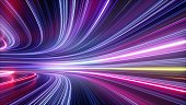 istock 3d render, abstract neon background, space tunnel turning to left, ultra violet rays, glowing lines, virtual reality jump, speed of light, space and time strings, highway night lights 1272592927