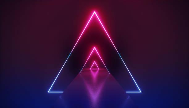 3d-render, abstrakte neon-hintergrund, violett rosa leuchtend dreieckige formen, leere korridor-perspektive, langer tunnel, mode-podium, performance-bühne dekoration, dreiecke in ultraviolettem licht - arkade stock-fotos und bilder
