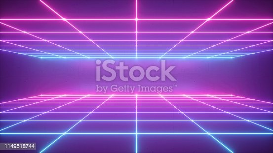 istock 3d render, abstract neon background, virtual reality space, pink blue grid in ultraviolet spectrum, chart field, frontal perspective view 1149518744