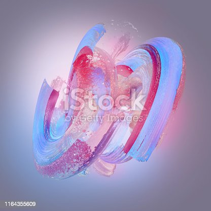 929915344istockphoto 3d render, abstract neon background with grungy brush strokes, twisted blue red pastel paint splashing, isolated object 1164355609