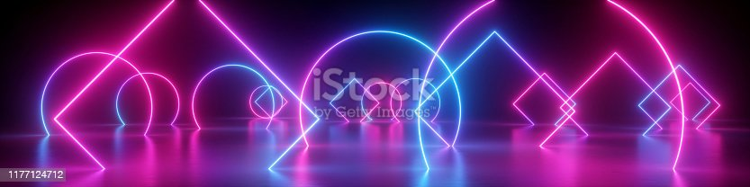 istock 3d render, abstract neon panoramic background, geometric shapes, glowing lines, ultraviolet light 1177124712