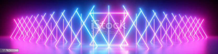 istock 3d render, abstract neon panoramic background, glowing lines, ultraviolet light 1176300388