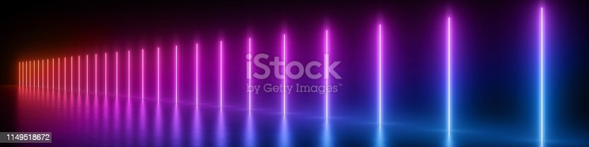 istock 3d render, abstract panoramic background, glowing vertical lines, neon lights, ultraviolet spectrum, virtual reality, laser show 1149518672