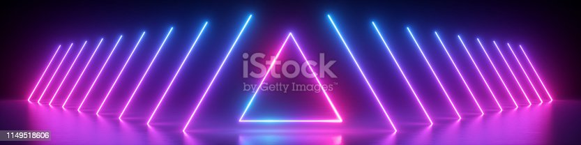 istock 3d render, abstract panoramic background, neon light, glowing lines, triangle shape symbol, ultraviolet spectrum, virtual reality, laser show 1149518606