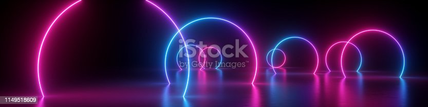 istock 3d render, abstract panoramic background, neon light, glowing lines, round geometric shapes, ultraviolet spectrum, virtual reality, laser show 1149518609