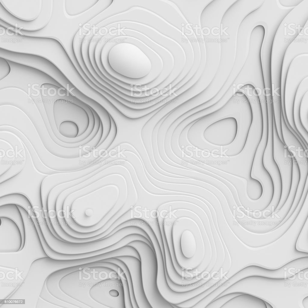 3d render, abstract paper background, flat layers, relief topographic map stock photo