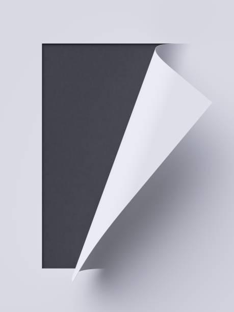 3d render, abstrakte papierhintergrund, ecke seitenumblättern, leeres blatt, design-element für werbe- und pr-nachricht. weiße und schwarze kreative moderne mock-up. - klapprahmen stock-fotos und bilder