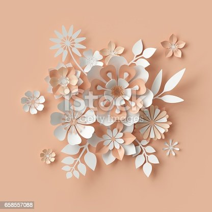 istock 3d render, abstract paper flowers, bridal bouquet, decorative floral design elements. peachy rose pink background 658557088