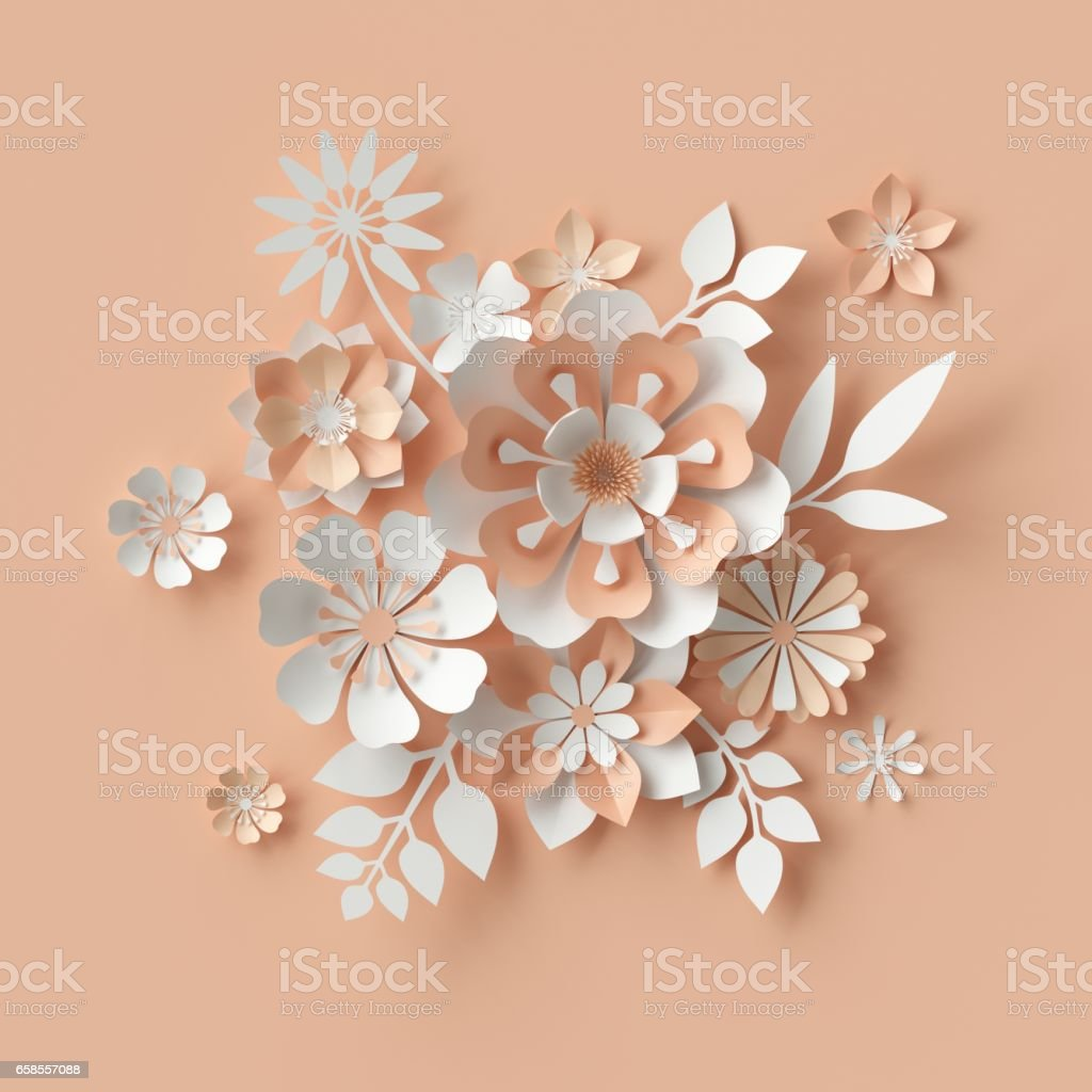 3d render, abstract paper flowers, bridal bouquet, decorative floral design elements. peachy rose pink background stock photo