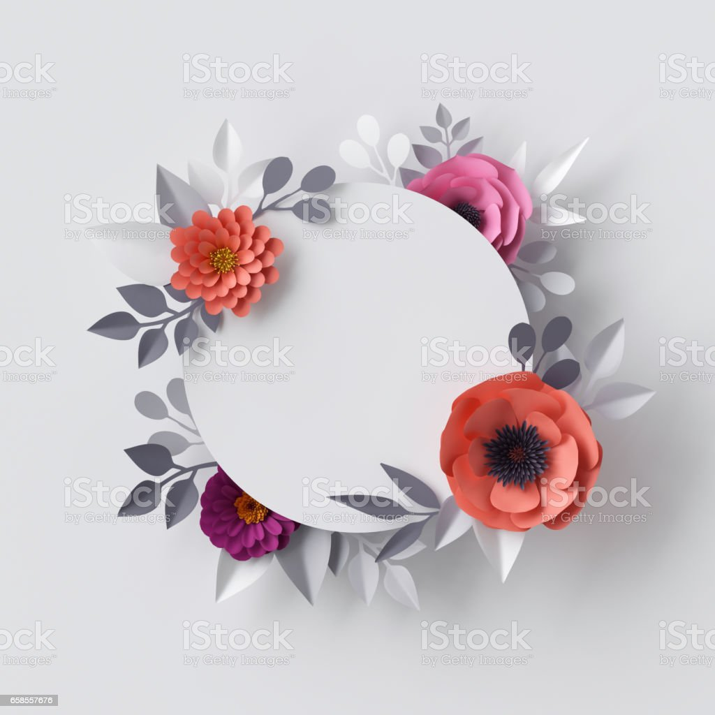 3d render abstract paper flowers floral background blank