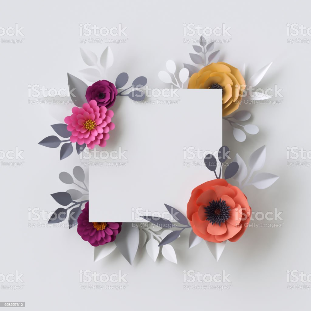 3d Render Abstract Paper Flowers Floral Background Blank Square