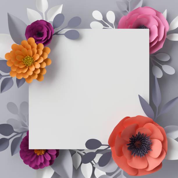 render 3d, flores de papel abstracto, fondo floral, marco cuadrado en blanco, plantilla de tarjeta de felicitación - diseños de bodas fotografías e imágenes de stock
