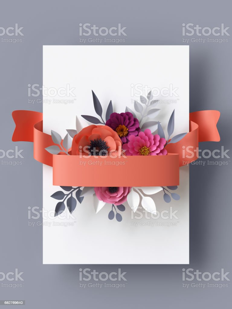 3d render abstract paper flowers vertical floral background card 3d render abstract paper flowers vertical floral background card template coral red mightylinksfo
