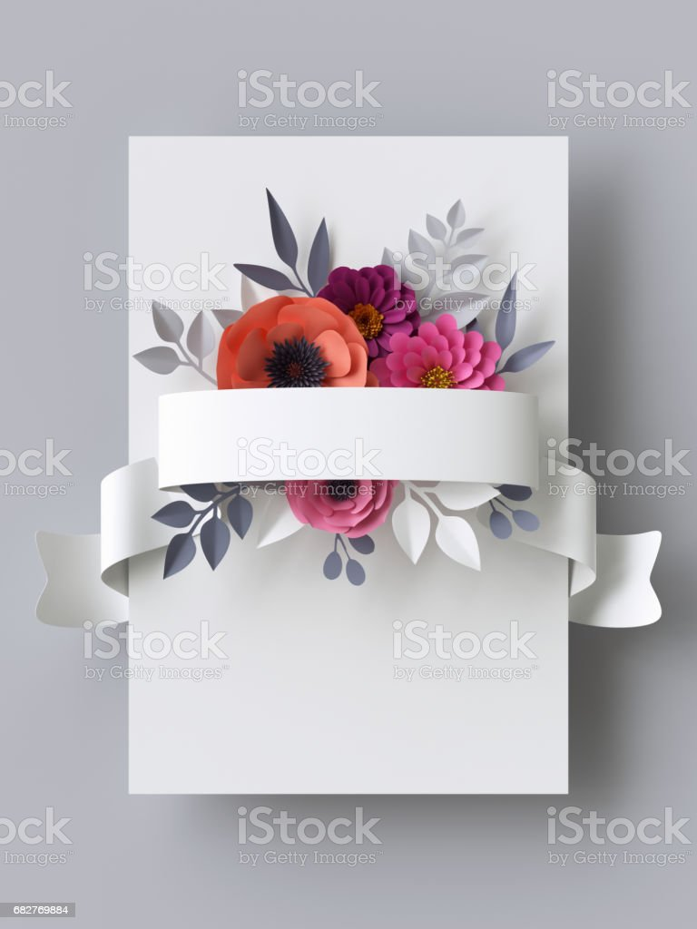 3d Render Abstract Paper Flowers Vertical Floral Background White ...