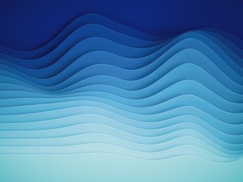 3d render, abstract paper shapes background, sliced layers, waves, hills, gradient blend, equalizer