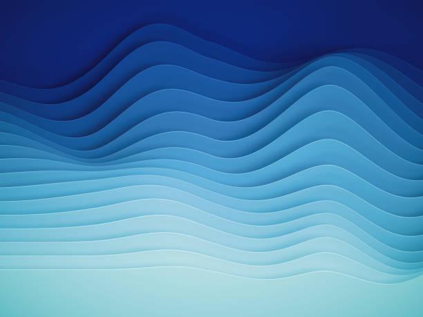 3d render, abstract papier vormen achtergrond, gesneden lagen, golven, heuvels, gradiënt blend, equalizer - digitaal samengesteld beeld stockfoto's en -beelden
