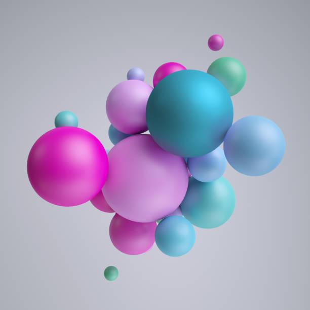 3d render, abstract pastel balls, pink blue balloons, geometric background, multicolored primitive shapes, minimalistic design, pastel colors palette, party decoration, plastic toys, isolated elements - balão enfeite imagens e fotografias de stock