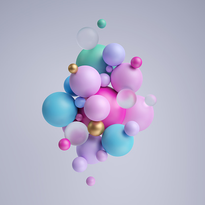istock 3d render, abstract pastel balls, pink blue balloons, geometric background, multicolored primitive shapes, minimalistic design, pastel colors palette, party decoration, plastic toys, isolated elements 1043739232
