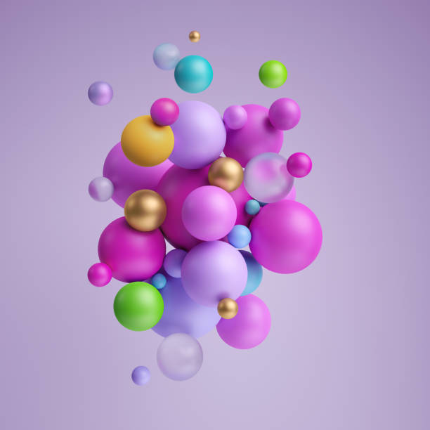 3d render, abstract pastel balls, pink violet balloons, geometric background, primitive shapes, minimalistic design, pastel colors palette, party decoration, plastic toys, isolated elements - balão enfeite imagens e fotografias de stock