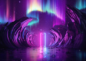 3d レンダリング、抽象的なピンクの青いネオンの背景、宇宙の風景、ノーザンポーラーライト、難解な長方形のポータル、バーチャルリアリティ、紫外線スペクトル、岩