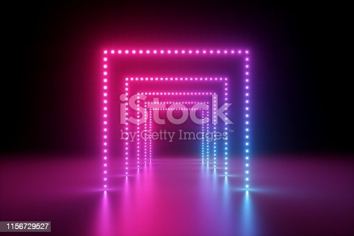 1149518720 istock photo 3d render, abstract pink blue neon background, fashion podium in ultraviolet light, performance stage decoration, illuminated night club corridor with square arcade 1156729527