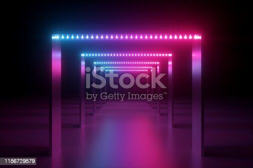 1149518720 istock photo 3d render, abstract pink blue neon background, fashion podium in ultraviolet light, performance stage decoration, illuminated night club corridor with square arcade 1156729579