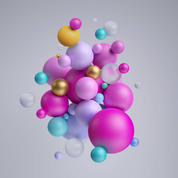 3d render, abstract pink gold balls, pastel balloons, geometric background, multicolored primitive shapes, minimalistic design, pastel colors palette, party decoration, plastic toys, isolated elements - balão enfeite imagens e fotografias de stock