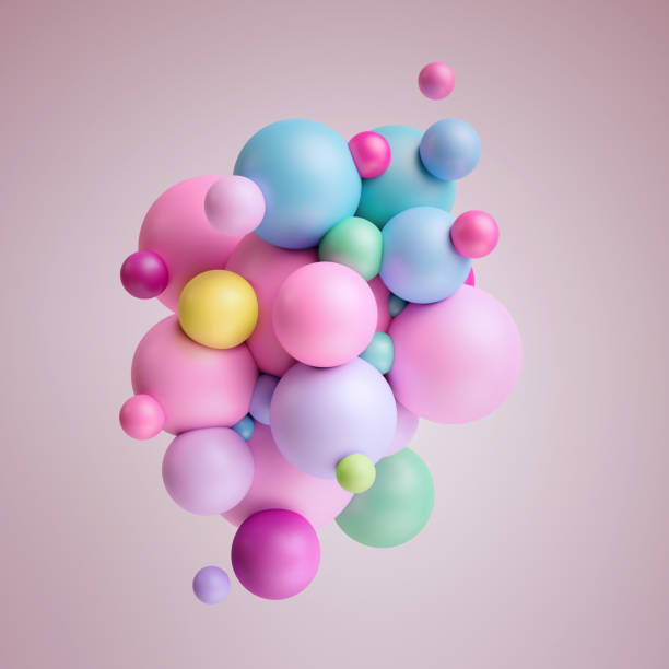 3d render, abstract pink pastel balls, multicolored balloons, candy, geometric background, primitive shapes, minimalistic design, party decoration, plastic toys, isolated elements - balão enfeite imagens e fotografias de stock