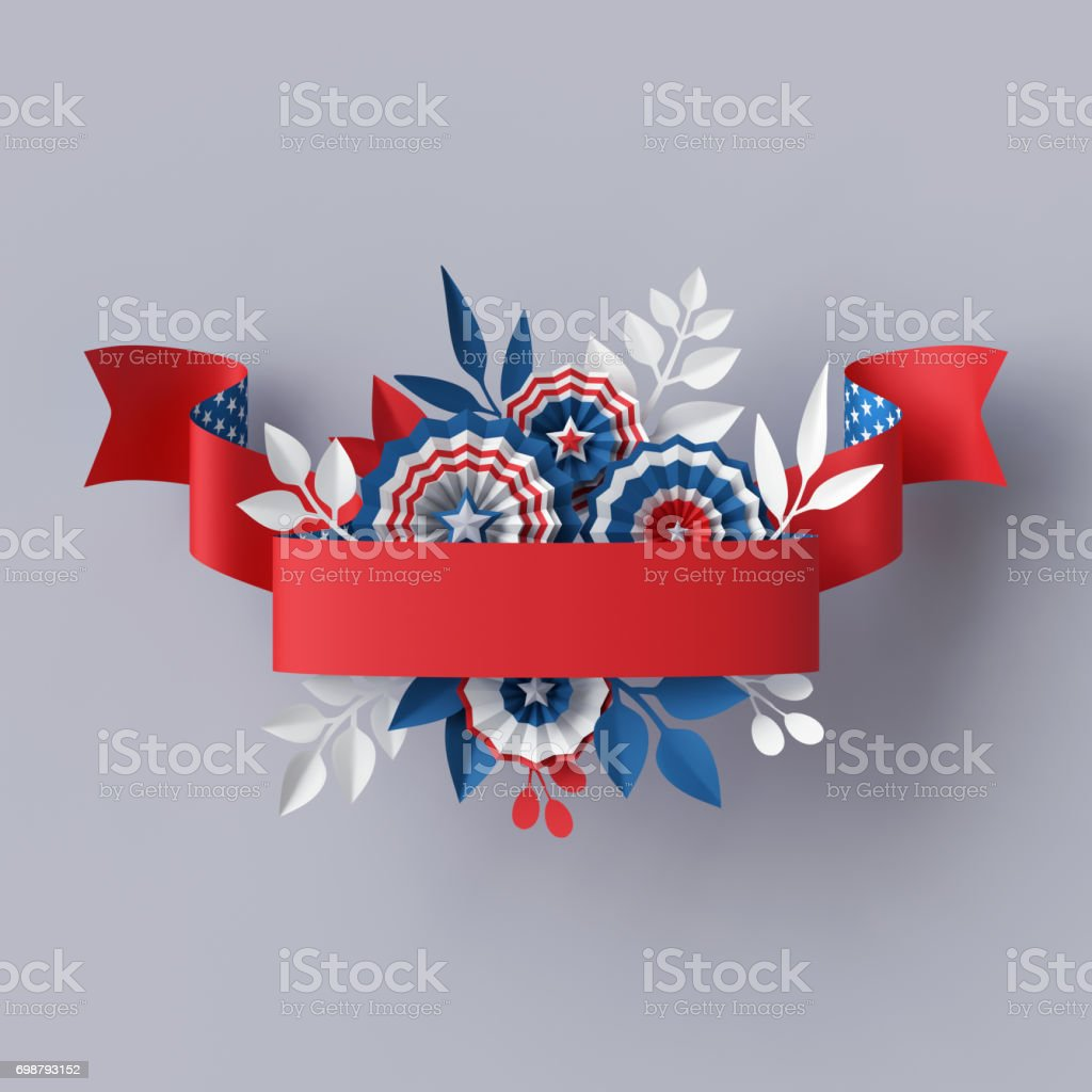 3d render, abstract red blue paper flowers, red ribbon design element, 4th july patriotic background, USA independence day banner, invitation, greeting card template stock photo