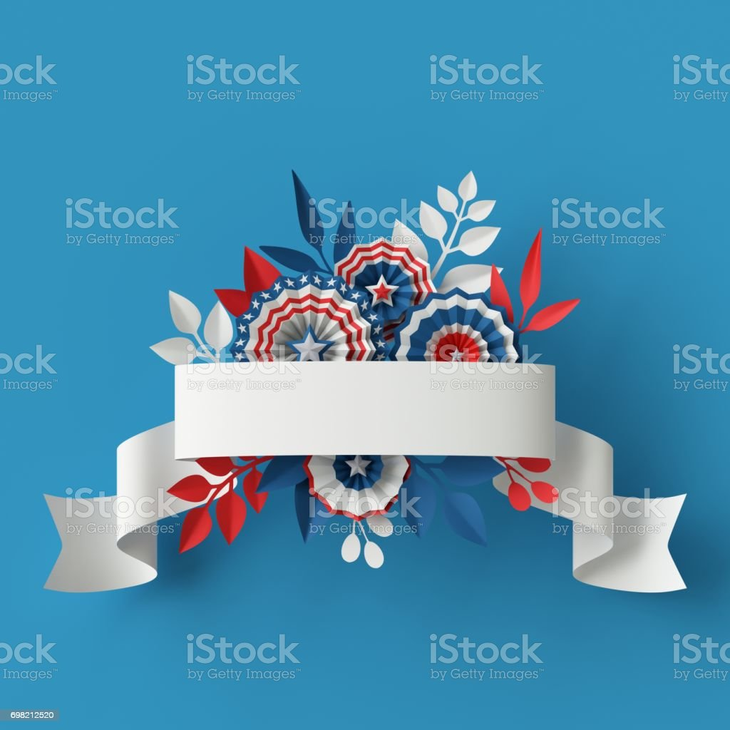 3d render, abstract red blue paper flowers, ribbon design element, 4th july patriotic background, USA independence day banner, invitation, greeting card template stock photo
