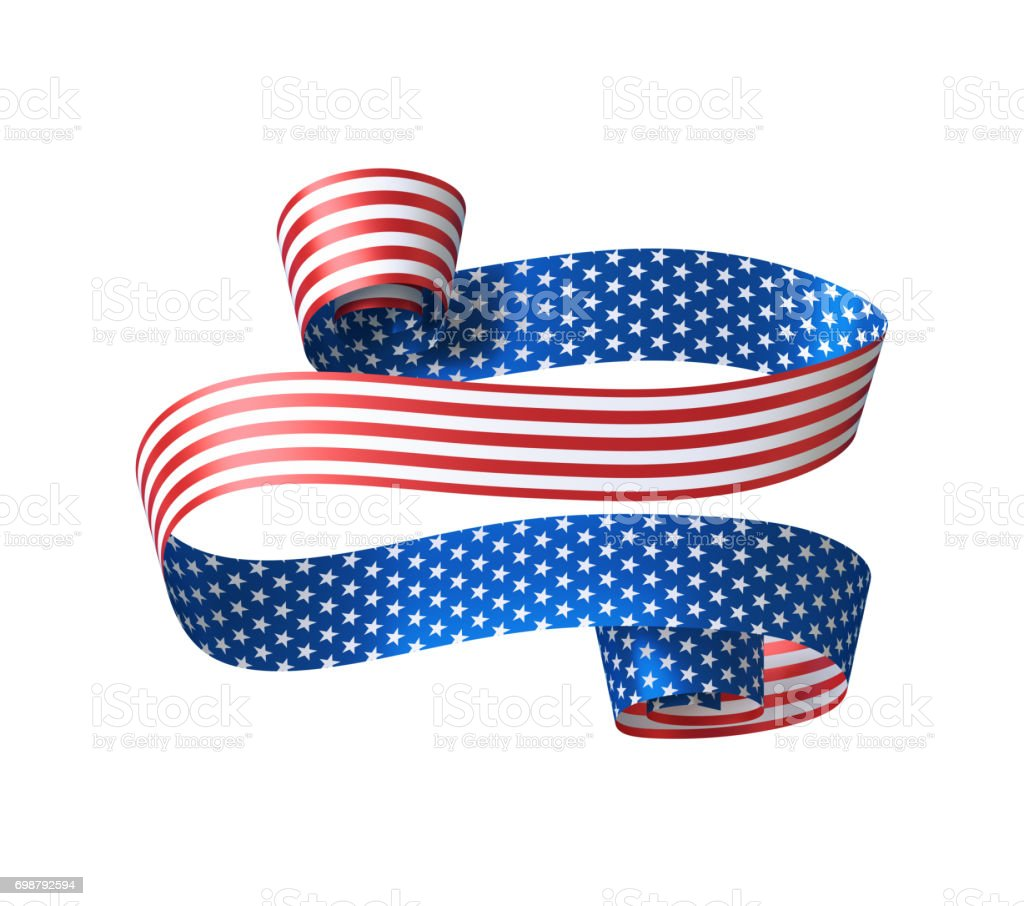 3d render, abstract red blue paper ribbon, design element, 4th july patriotic background, USA independence day banner, invitation, label template stock photo