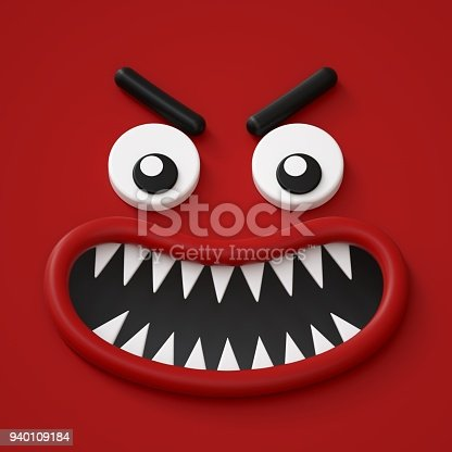 istock 3d render, abstract red emotional face icon, angry character going mad illustration, cute cartoon monster, emoji, emoticon, toy, wild anger 940109184