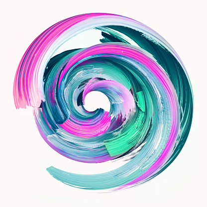 3d render, abstract round brush stroke, paint splash, colorful splatter circle, artistic vivid spiral smear, isolated on white background