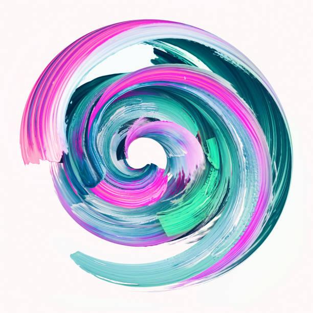 3d 渲染, 抽象圓形筆刷筆觸, 油漆飛濺, 五顏六色的飛濺圈, 藝術生動的螺旋塗片, 孤立在白色背景 - 纏繞 物體描述 個照片及圖片檔