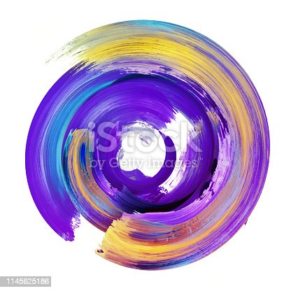 istock 3d render, abstract round brush stroke, violet yellow paint splash, colorful splatter circle, artistic vivid spiral smear, isolated on white background 1145625186