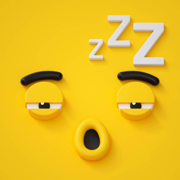 3d render, abstract slaperige gezicht pictogram, slapen karakter illustratie, dromen, emotionele, leuke cartoon monster, emoji, emoticon, speelgoed - sleeping illustration stockfoto's en -beelden