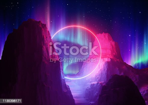 istock 3d render, abstract space background, cosmic landscape, aurora borealis, parallel universe, alien portal, pink blue neon light, virtual reality, ultraviolet spectrum, round frame, laser ring, rocks 1135398171