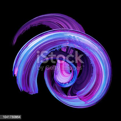 istock 3d render, abstract twisted brush stroke, paint smear, splash, splatter, colorful curl, artistic spiral, violet vortex, vivid ribbon on black background 1041730954