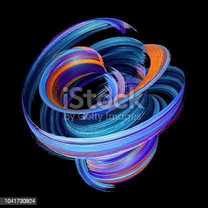 istock 3d render, abstract twisted brush stroke, paint splash, splatter, colorful curl, artistic spiral, blue vortex, vivid ribbon on black background 1041730924
