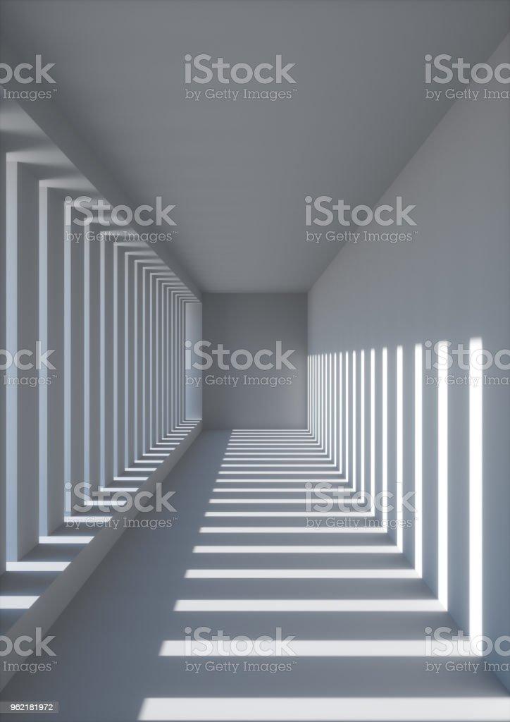 3d render abstrakte stadtischen hintergrund tunnel leeren weissen flur zimmer sonnenstrahlen