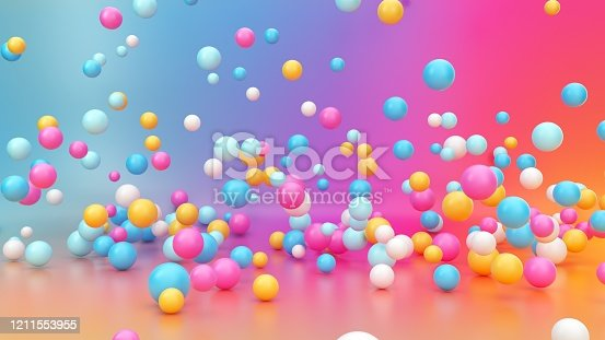 3d render, abstract vibrant gradient background, assorted colorful balls falling down, jumping, bouncing, flying or levitating inside empty room. Minimal fun concept. Pink blue yellow white balloons