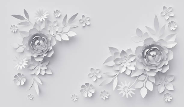 3d render, abstract white paper flowers, horizontal floral background, decoration, greeting card template - wedding fashion stock photos and pictures