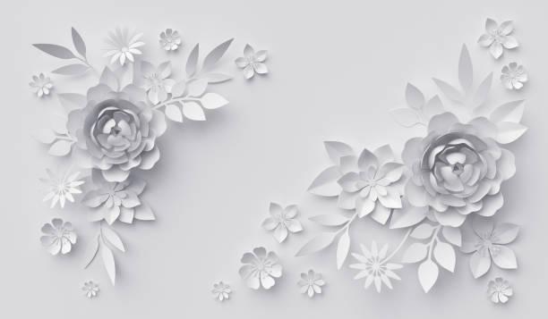 render 3d, flores de papel blanco resumen, horizontal fondo floral, decoración, plantilla de tarjeta de felicitación - diseños de bodas fotografías e imágenes de stock
