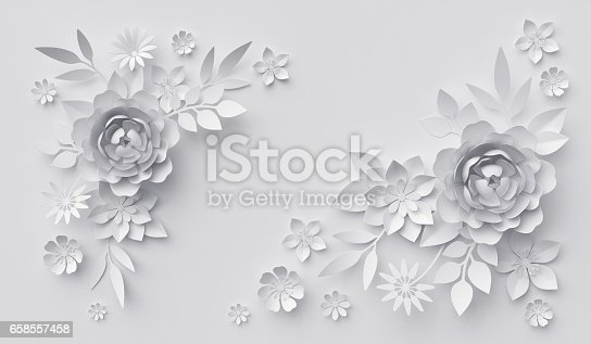 3d Render Abstract White Paper Flowers Horizontal Floral ...