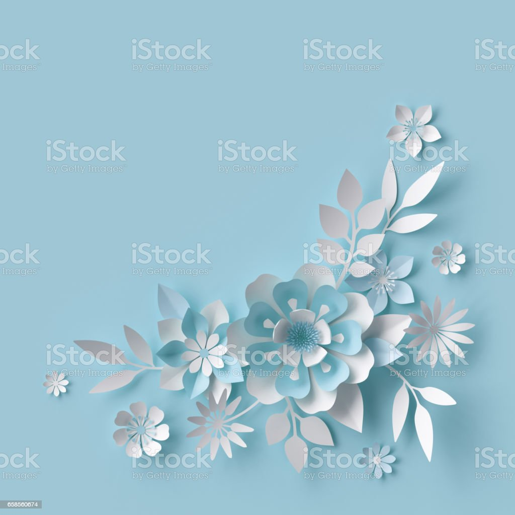 3d render, abstract white paper flowers, pastel blue background, floral decor stock photo