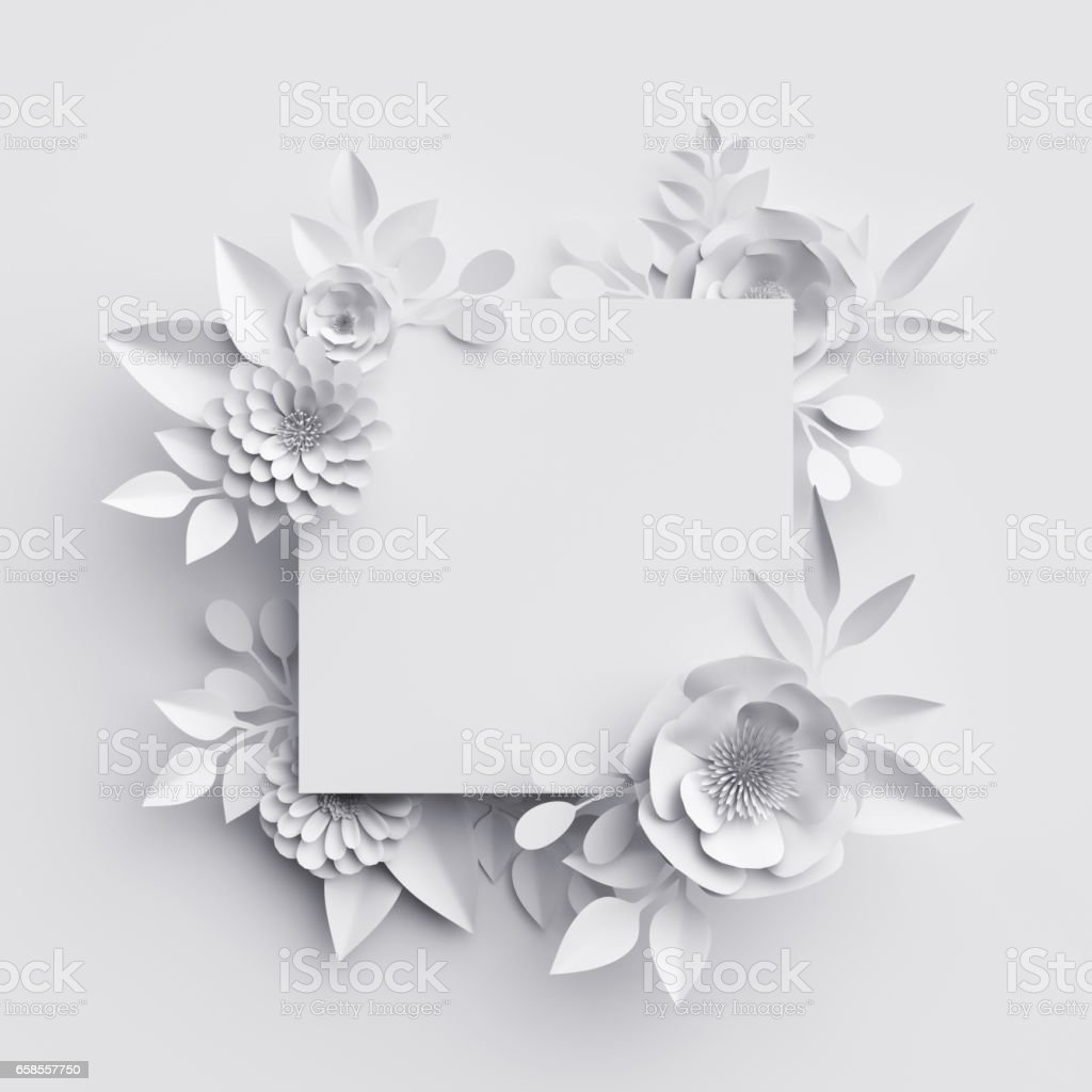 3d render, abstract white paper flowers, square frame, floral background, decoration, greeting card template, blank banner stock photo