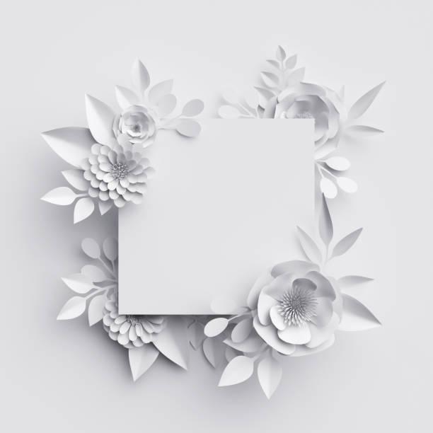 render 3d, flores de papel blanco resumen, marco cuadrado, fondo floral, decoración, plantilla de tarjeta de felicitación, banner en blanco - diseños de bodas fotografías e imágenes de stock
