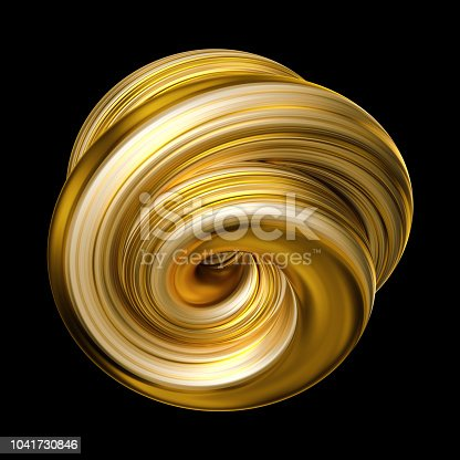 921375446istockphoto 3d render, abstract yellow gold shape, brush stroke, artistic smear, colorful curl, spiral, vortex, clip art isolated black background 1041730846
