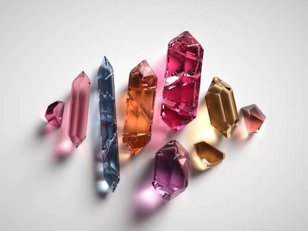 3d render, blandade färgade andliga kristaller isolerad på vit bakgrund, reiki healing kvarts, grov nuggets, facetterade ädelstenar, halvädelstenar juveler - kristall bildbanksfoton och bilder